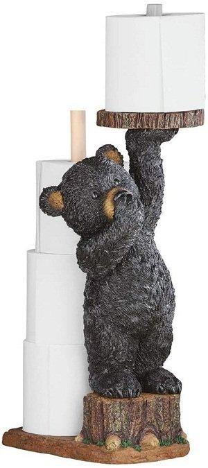 Standing Cub Black Bear Toilet Paper Holder