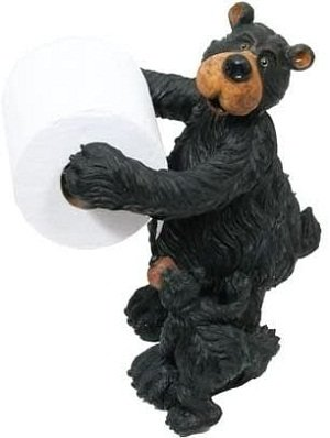 Willie Black Bear with Cub Free-Standing Bear Toilet Paper Holder