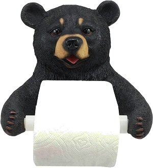 Cute Grizzly Black Bear Toilet Paper Holder