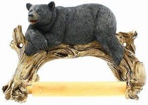 Black Bear Lounging Toilet Paper Holder Decorative Cabin Décor