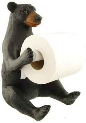 Black Bear Toilet Paper Holder, 11-inch