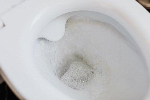 Soaked toilet bowl
